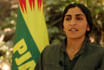 زیلان وژین، رئیس مشترک حزب حیات آزاد کوردستان (پژاک) در میانه شرکت در برنامه هِلی سیِ (خط سوم)